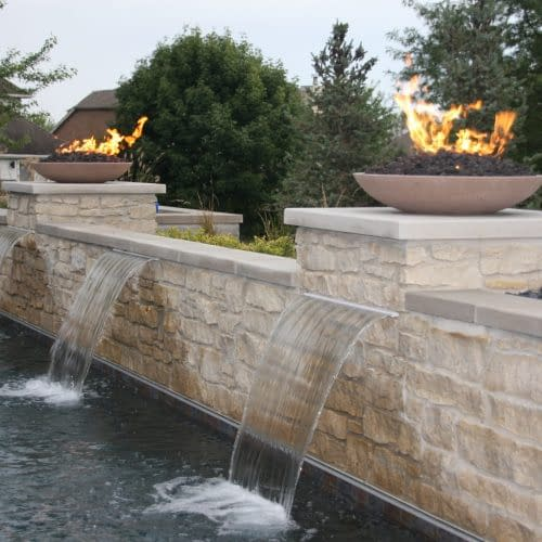 Close up of water weirs with fire features Coralville Iowa