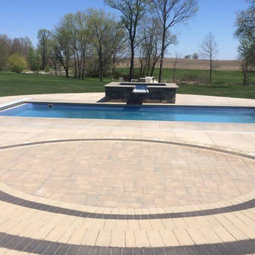 Earthtone stamped pool deck