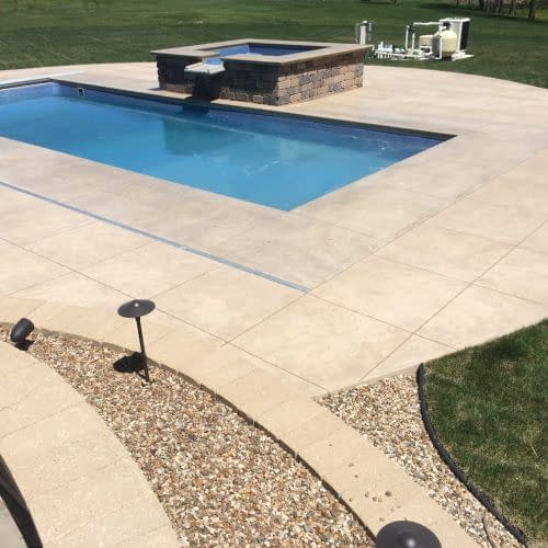 Marion Iowa pool with square saw cuts