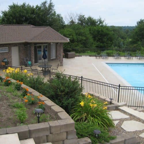Pool house that opens up to concrete pool Iowa City Iowa